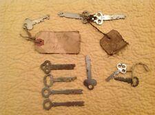 Vinatge Lot of 10 FlT Skeleton Key Safe/Locker Keys. Miller, Mosler, Stamform