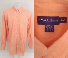 Men's M Ralph Lauren Purple Label Apricot Long Sleeve Cotton Shirt Made In Italy