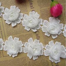 1yd Vintage Cotton Crochet Flower Pearl Lace Edge Trim Ribbon Wedding Sewing DIY