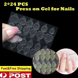 48pcs Double sided nail sticker Toe Removable Tip Glue Replacement press on tabs