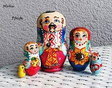 """Matroschka Steckpuppe """"Kosake mit Glatze"""" 5er Schachtelpupe 10 cm"""