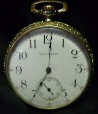 Waltham 17 Jewels 16 Size Open Face Pocket Watch - Supreme IWC Co. Case RUNS