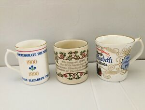3 x Queen Mother 80th 1980 and 90th 1990 Commemorative Mugs