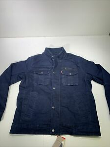 Levi's Men's Washed Cotton Two Pocket Button Jacket Trucker Navy Denim Red Tab