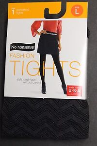 No nonsense  PATTERNED TOP  TIGHTS GRAPHITE HEATHER BK L,M,S USA MADE