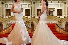 New White/Ivory Lace Mermaid/Fishtail Bridal Wedding Dress Ball Gown Custom Size