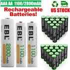 EBL AA AAA Rechargeable Batteries 2800mAh 1100mAh NI-MH 1.2V + Case Box Lot