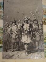 Ecole FRANCAISE XIX DESSIN LAVIS MILITAIRE HALLEBARDIER ARMEE SUISSE ? 1845