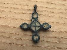 Fine Viking Bronze Cross Pendant Enamel 10-13 AD Kievan Rus