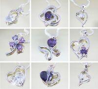 LOVE Herzkette Anhänger Silber Halskette Herz Delphin Blume Damen Kette Geschenk