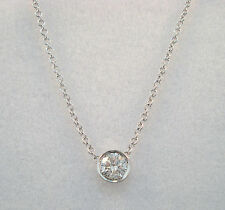 0.19 CARAT SOLITAIRE DIAMOND BY THE YARD PENDANT NECKLACE BEZEL14K WHITE GOLD