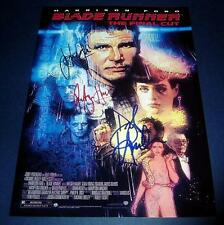"BLADE RUNNER MOVIE CASTx3 PP SIGNED POSTER 12""X8"" HARRISON FORD N2"