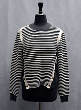 B5 NEW VERONICA BEARD Milou Ottoman Mock Neck Navy White Striped Sweater Size L