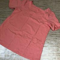 A-486 Denim & Co. Essentials Square-Neck Top with Elbow Sleeve CORAL BISQUE sz S