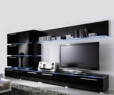 Liren 2 - black media wall unit / modern entertainment center / wall cabinet