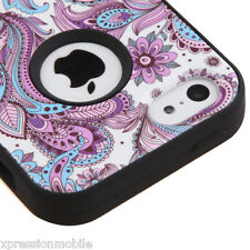 For Apple iPhone 5C Hybrid Rugged ShockProof Rubber Hard Case Cover Lace Flower