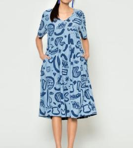 🌱Gorman x Kindah Khalidy Smock Blue Sadie Dress 12. Slim 14 will fit🌱