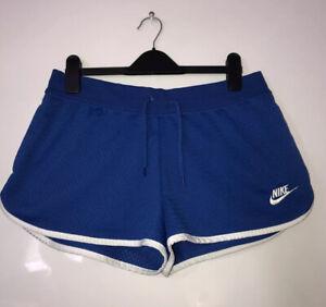 Nike Blue White Runner Yoga Gym Workout Summer Shorts Uk M Fits 12 14 16