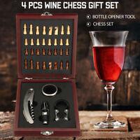 4 Pcs Wine Bottle Opener Accessory Corkscrew Pourer Box Kit Gift + Chess Set