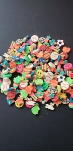 Vintage Lot 38 Erasers Love Hearts 80s 90s toy neon stars cute kawaii pink color