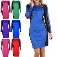 Womens Ladies Contrast Mesh Side Panel Long Sleeve Round Neck Bodycon Mini Dress