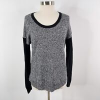 Madewell Medium M Chronicle Texture Pullover Sweater Colorblock Gray Black Scoop