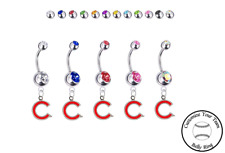 Ring - Customize Gem Color - New Chicago Cubs C Logo Silver Belly Button Navel
