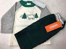 Gymboree NWT Baby 0-3Cozy Cabin Polar Bear Tee & Pull On Cargo Pants Set Outfit
