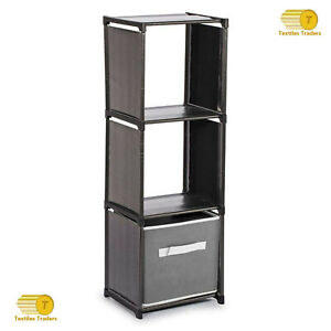3 Tier Storage Compartment Plastic Organiser With Shelving Unit Home/Office