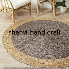 Braided Natural Hand Woven Round Multi Color 7 Feet Jute Rug Area Rug Carpet Mat
