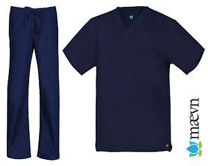 Maevn Unisex Navy Blue Scrub Set One Pocket Top Drawstring Pants 2XS to 2XL