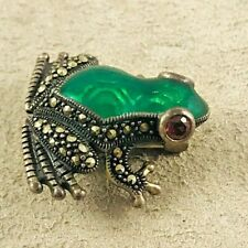 """Marcasite Sterling & Green Frog Enamel w/Pink Stone Eye Brooch Pin-7/8"""""""