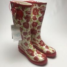 Laura Ashley Womens Garden Wellington Boots Wellies Size 4 Red Festival Outdoor
