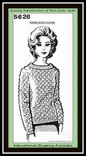 Popcorn PULLOVER Crochet Mesh TOP Pattern Mail Order Pattern 5626 VINTAGE RETRO
