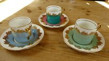 Vintage Aynsley Bone China Harlequin Coffee Cans and Saucers 6 Pieces