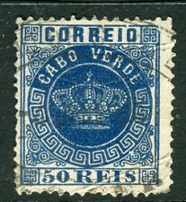 PORTUGAL CABO VERDE;  1877 early classic Crown Type used 50r. value