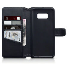 LUSSO REAL LEATHER WALLET CASE PER SAMSUNG GALAXY s8 Plus-Nero