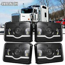 """4pcs Red 4""""x6"""" LED Headlights Hi/Lo Sealed Beam Headlamps HID Xenon Replacement"""