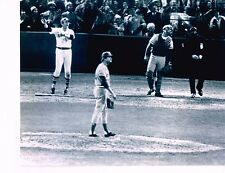 Carlton Fisk (Red Sox) 1975 W.S. H.R. vs. Reds unsigned black & white 8x10 photo