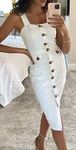 Size 18 Michelle Keegan Contrast Stitch Denim White Pencil Dress
