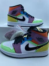 New Nike Air Jordan 1 Retro Mid SE Lightbulb Multicolor 2020 CW1140-100 Womens