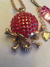 Betsey Johnson Red Crystal Skull Head Crossbones Coat Necklace-BJ10615
