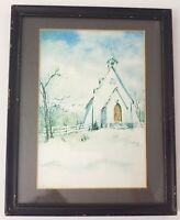 Original Handpainted Watercolor Ascension Chapel Framed Signed Catherine Woodman