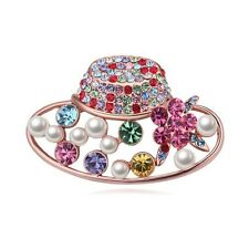 18K ROSE GOLD PLATED GENUINE MULTI-COLOURED CUBIC ZIRCONIA & PEARL HAT BROOCH