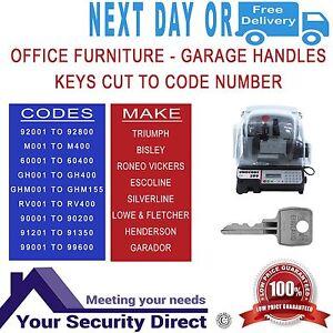 Keys Cut To Code Number - Office Furniture Bisley L&F 92001-92800 / M001-M400