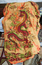 "Chinese Dragon 100% Cotton Bedspread / Throw - Double Size 85"" x 98"""