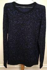 Saba Mens Blue Black Animal Camo 100 Fine Merino Wool Long Sleeve Jumper S