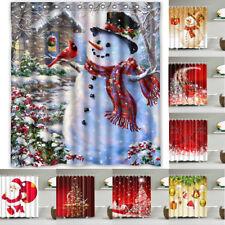 Christmas Snowman Fabric Waterproof Bathroom Shower Curtain Set 1.8*1.8M 12 Hook