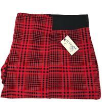 Terra & Sky Size 4X 28W-30W Red Black Plaid Stretch Ponte Pull On Pants New