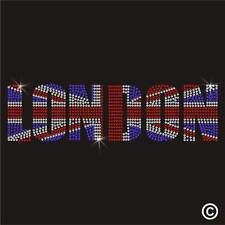 Hotfix Rhinestone LONDON UNION JACK GB Diamante Transfer Iron On Gem Motif